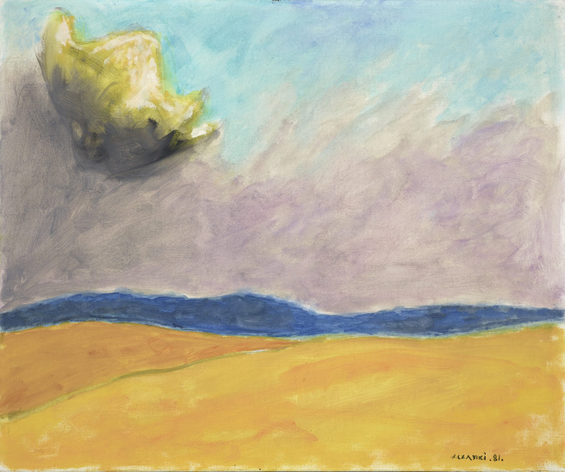 Obraz przedstawiający widok krajobrazu bez punktów charakterystycznych nad którym unosi się tytułowa chmura. Józef Czapski, Nuage èclatè [Lśniąca chmura], 1981, technika olejna, 54 cm x 65 cm
