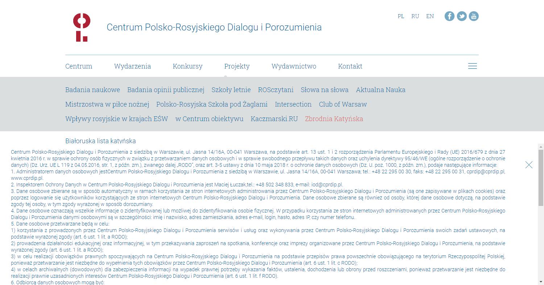 Zrzut ekranu - zakładka strony Centrum Polsko-Rosyjskiego Dialogu iPorozumienia, naktórejprezentowane są projekty instytucji tworzącej przestrzeń douczciwego dialogu Polaków iRosjan.