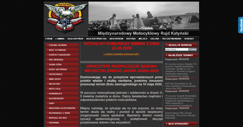 Zrzut ekranu - strona Międzynarodowego Motocyklowego Rajdu Katyńskiego, naktórejczynni motocykliści zgromadzili informacje natemat pielgrzymek domiejsc pamięci związanych zeZbrodnią Katyńską.