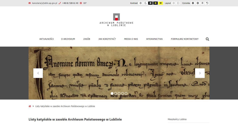 Zrzut ekranu - strona Archiwum Państwowego wLublinie; prezentuje zasób archiwaliów dotyczących mieszkańców Lubelszczyzny – ofiar Zbrodni Katyńskiej.