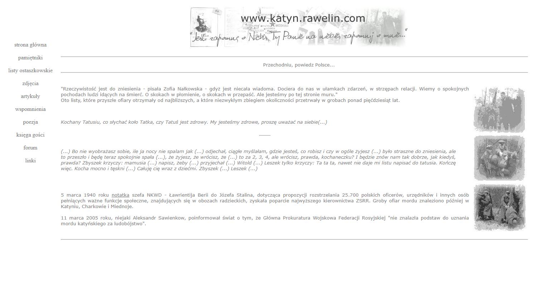 """Zrzut ekranu - strona Stowarzyszenia """"Rawelin"""" – zbiór pamiętników, wspomnień, listów iartykułów dotyczących Zbrodni Katyńskiej."""