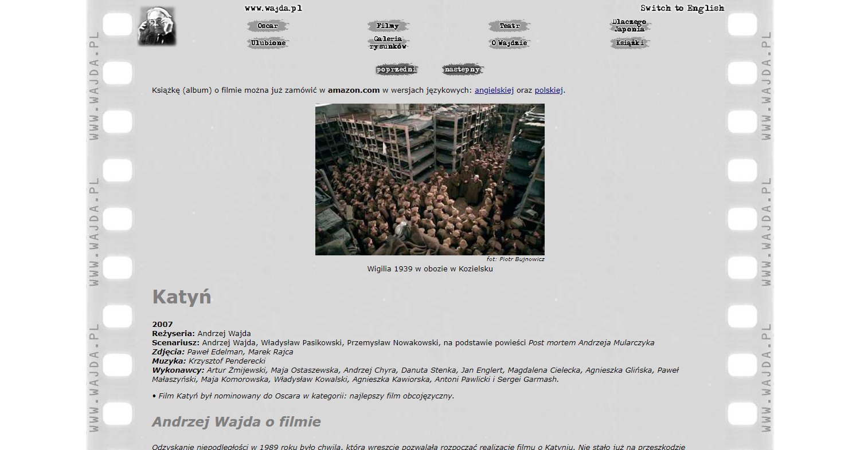 Zrzut ekranu - oficjalna witryna filmu Katyń wreżyserii Andrzeja Wajdy z2007 roku.