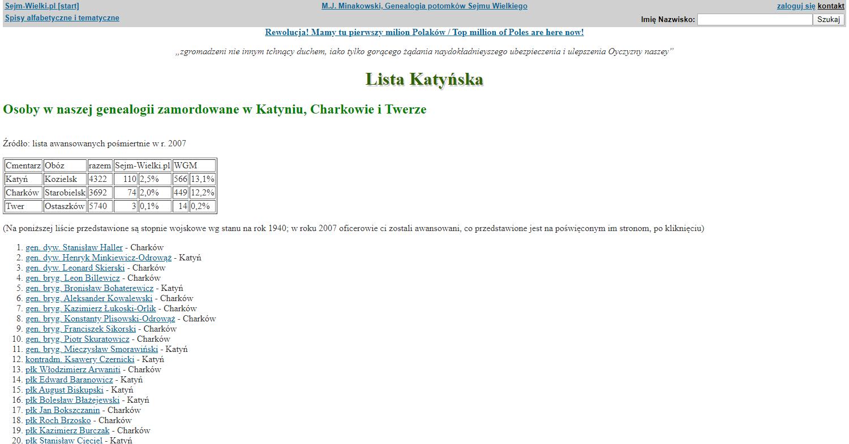 Zrzut ekranu - zakładka strony Genealogii Potomków Sejmu Wielkiego, pozwalająca dotrzeć dodrzew genealogicznych ponad 14 tys. ofiar Zbrodni Katyńskiej.
