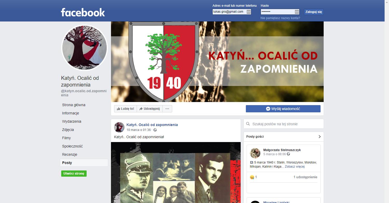 Zrzut ekranu - profil naFacebooku, promujący akcję sadzenia katyńskich Dębów Pamięci.