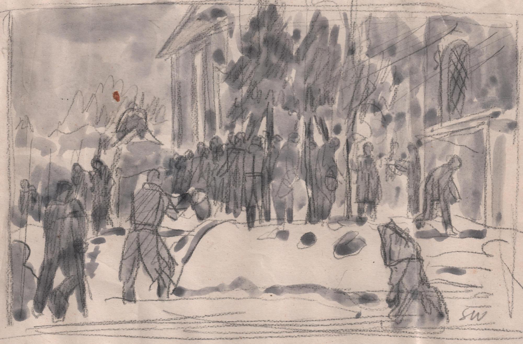 Praca przedstawiająca ludzi czekających wkolejce powodę, Stanisław Westwalewicz, rys. ołówkiem, lawowany, obóz wKozielsku, 1940