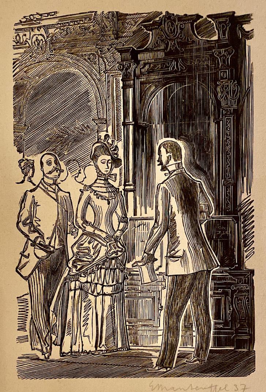 Rysunek przedstawiający dwóch mężczyzn orazkobietę wstaroświeckim sklepie.