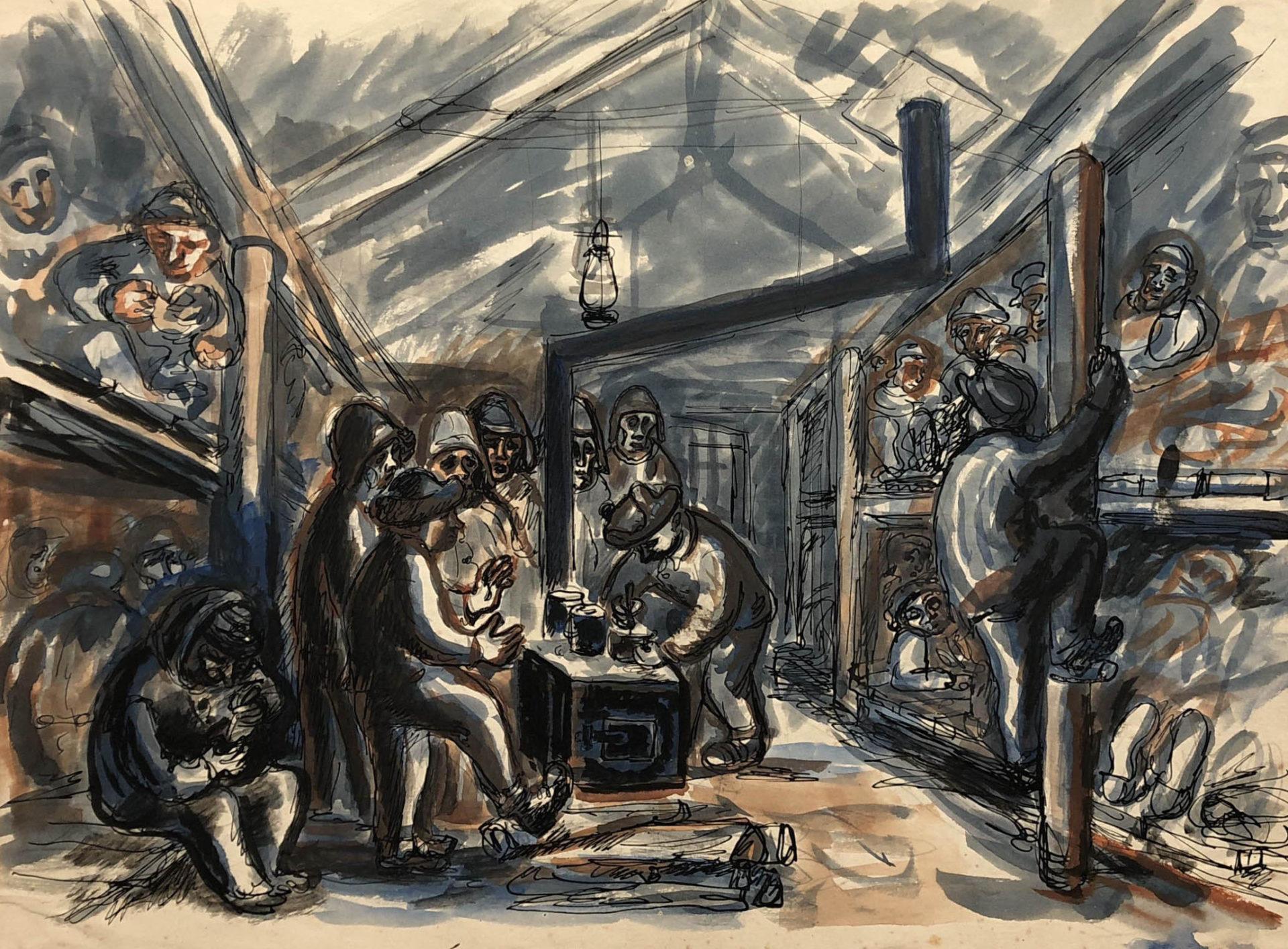 Praca przedstawiająca więźniów w baraku w łagrze w Kożwie. Więźniowie leżą na pryczach oraz ogrzewają się przy piecu. Adam Kossowski, rys. piórkiem, akwarela, praca stworzona w Londynie w 1943 roku.