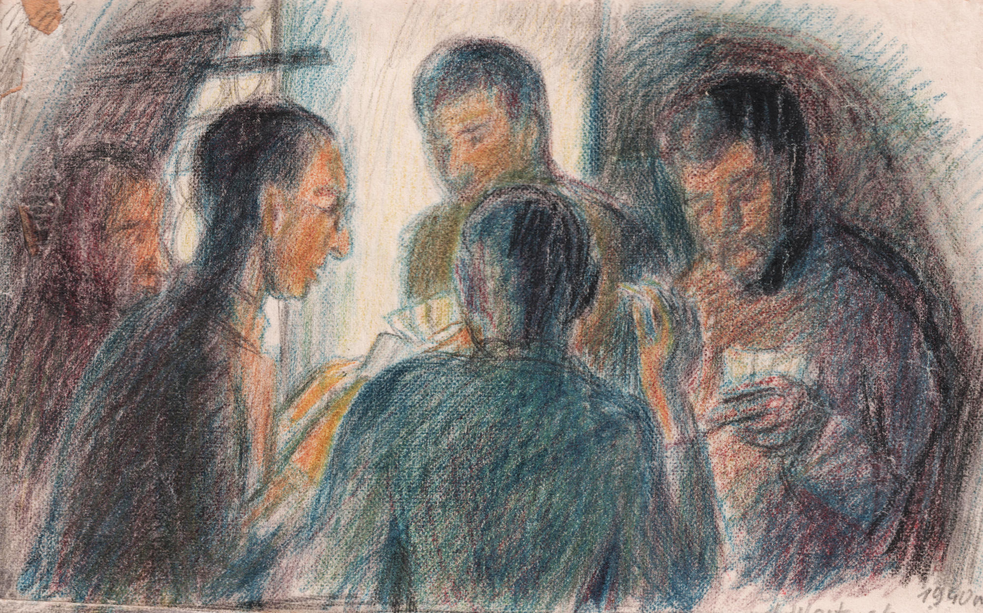 Rysunek przedstawiający jeńców grających wkarty. Stanisław Westwalewicz, Portret współjeńców, rys. kredkami, 1940