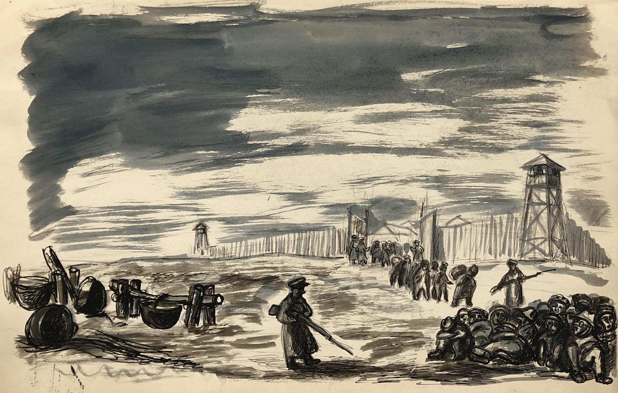 Rysunek przedstawiający więźniów wychodzących złagru wKożwie nadPeczorą podeskortą strażników. Prawdopodobnie dzień wymarszu zobozu poamnestii. rys. piórkiem, Adam Kossowski, praca stworzona wLondynie w1943 roku.