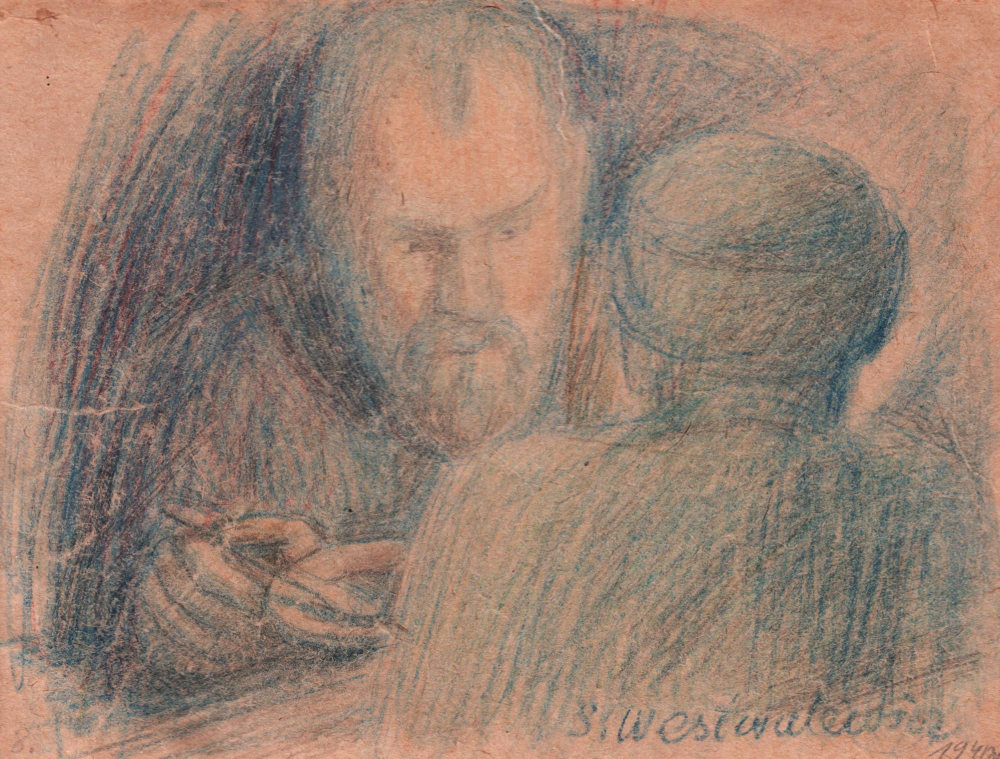 Stanisław Westwalewicz, Portret współjeńców, rys. kredkami, 1940,