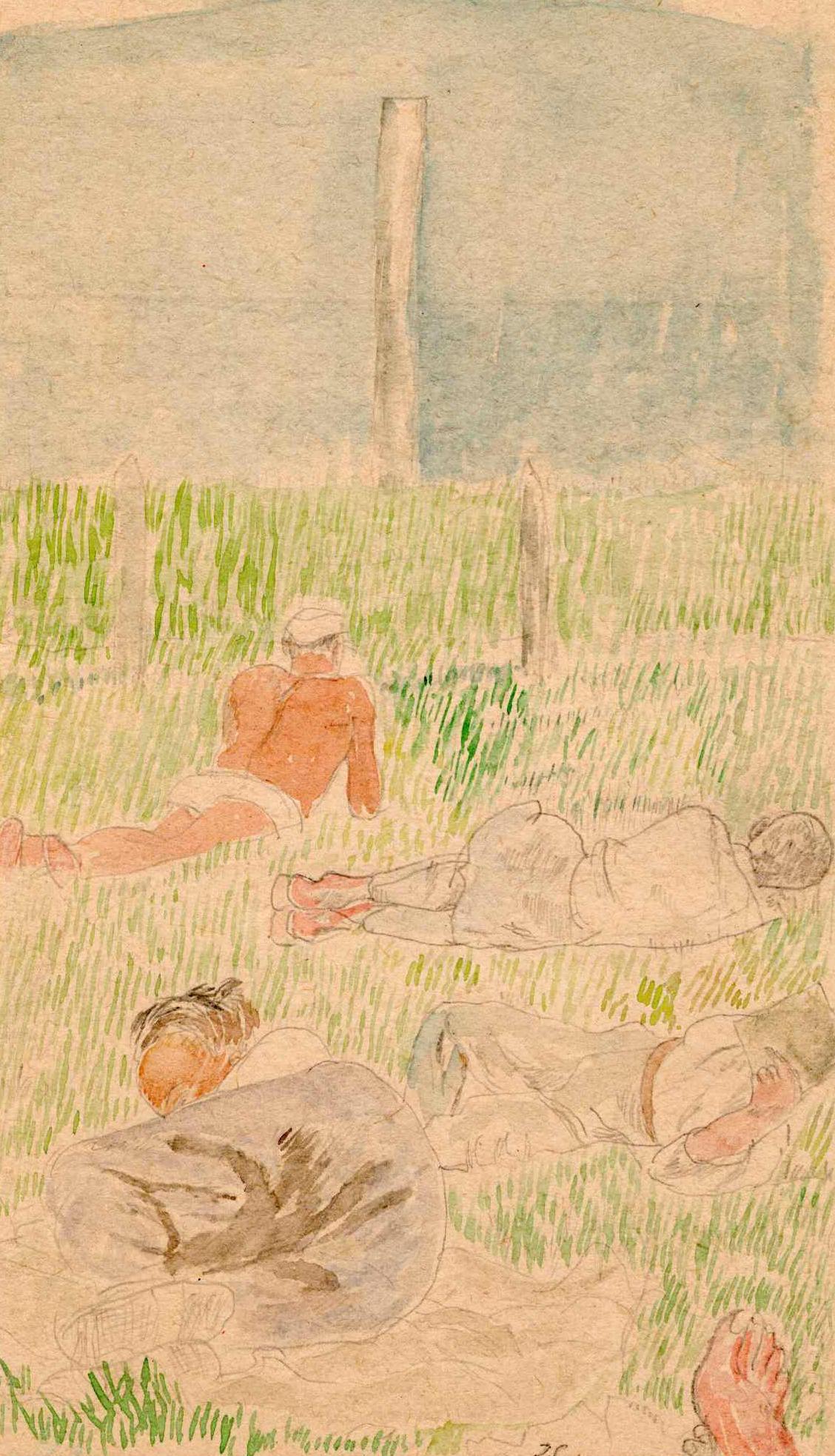 Obraz przedstawiający więźniów leżących natrawie podczas nauki. Józef Czapski, obóz wGriazowcu, lipiec-sierpień 1941