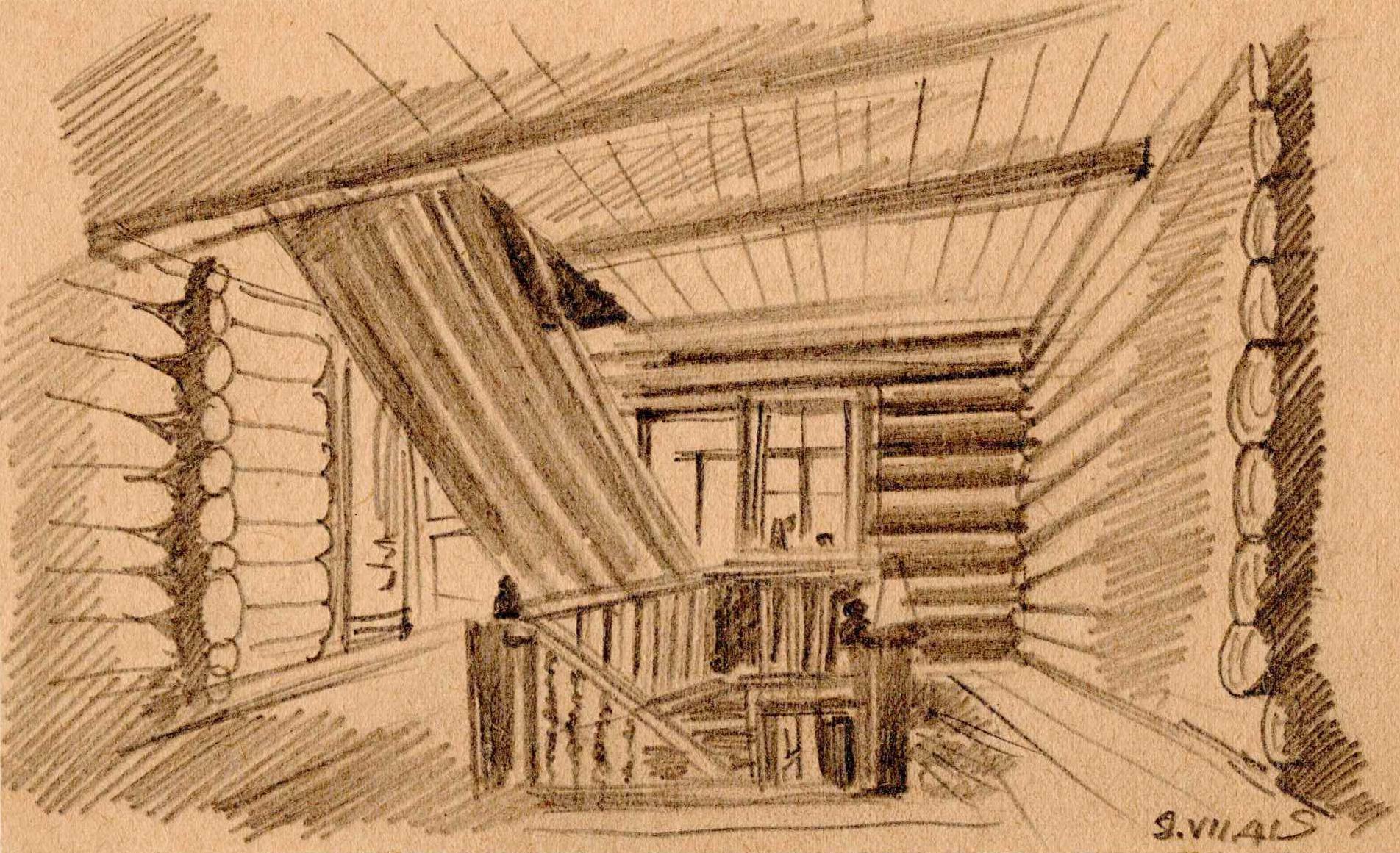 Rysunek ołówkiem przedstawiający wnętrze budynku oficerskiego wobozie wGriazowcu. Stefan Sienicki, Obóz wGriazowcu, 09.07.1941 Autor był znanym przedwojną architektem wnętrz.