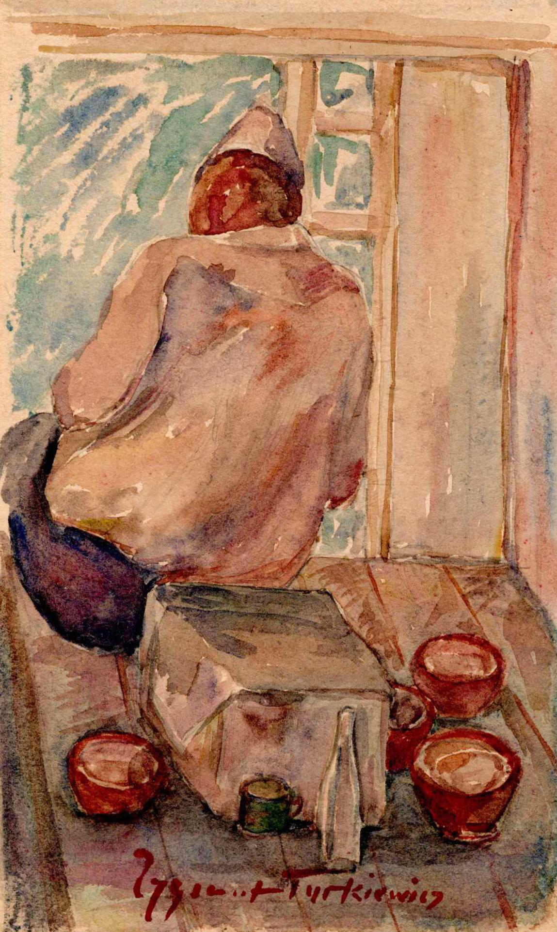 Relaks poposiłku. Akwarela przedstawiająca mężczyznę siedzącego nastole naktórymwidać puste naczynia. Mężczyzna odwrócony jest tyłem ilekko nadczymś pochylony, skupiony. Zygmunt Turkiewicz, Obóz wGriazowcu; 1941