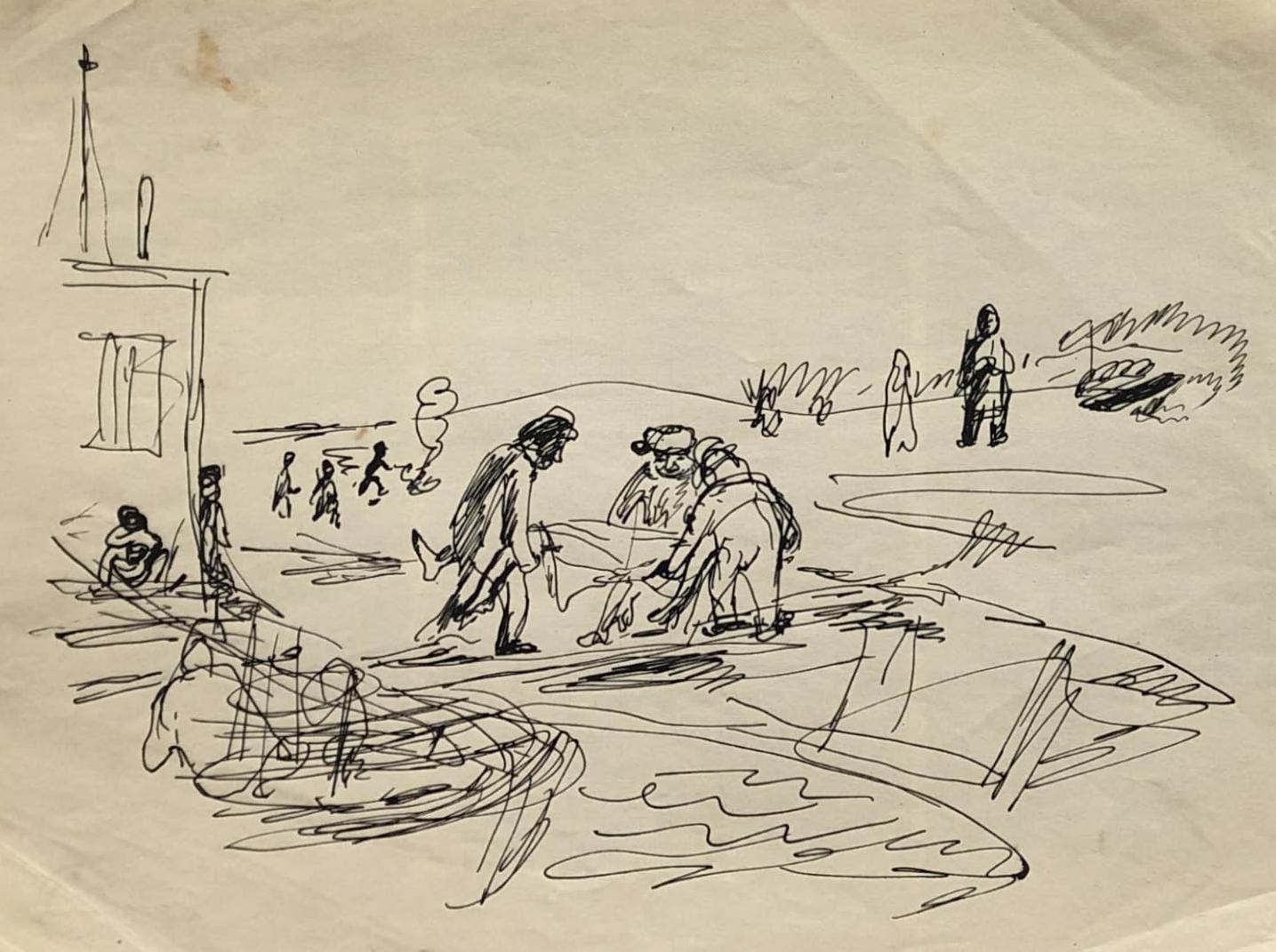 Rysunek przedstawiający ludzi przenoszących ciało. Adam Kossowski, praca stworzona wLondynie w1943 roku.