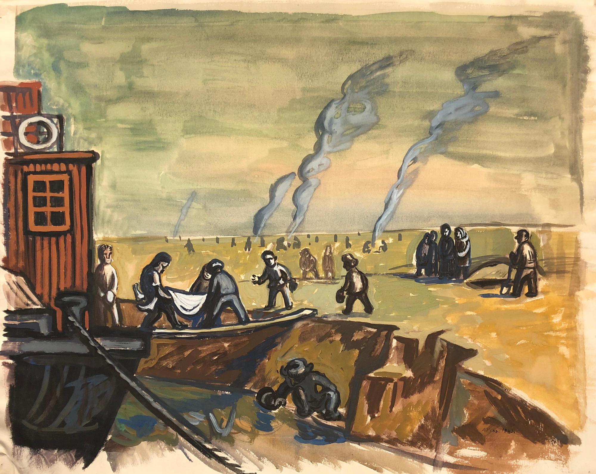 Obraz przedstawiajacy wynoszenie ciał zmarłych zbarki śmierci wczasie postoju. Nabliskim planie widać ludzi przenoszących ciało awoddali unoszący się dym. Tempera napapierze, Adam Kossowski, praca stworzona wLondynie w1943 roku.