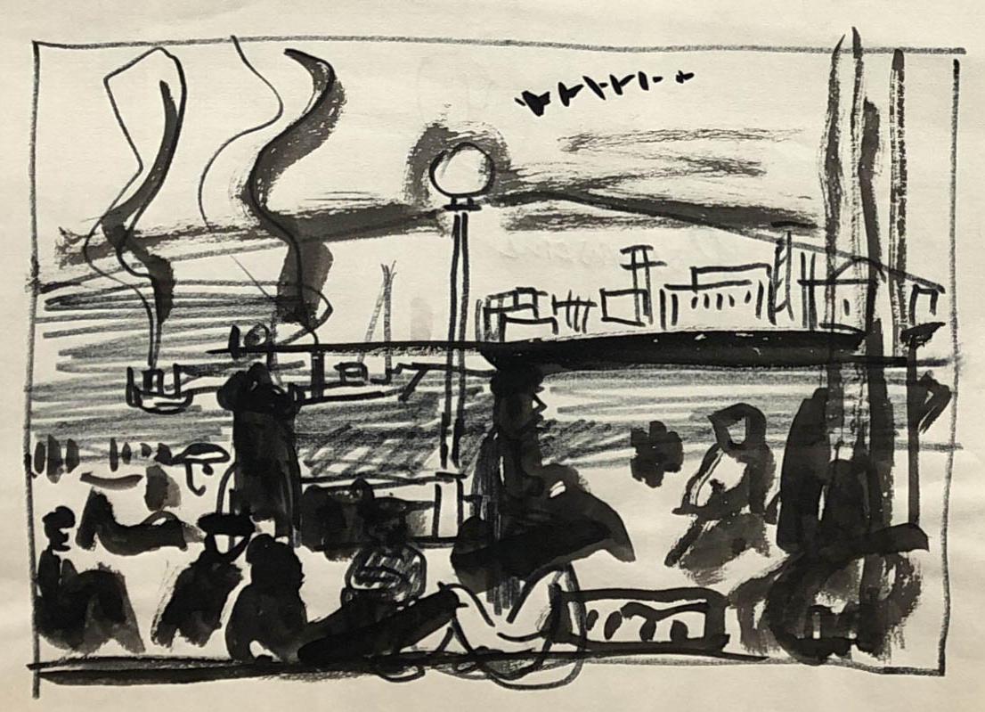 Rysunek tuszem przedstawiający barki śmierci narzece Peczorze. Adam Kossowski, praca stworzona wLondynie w1943 roku.