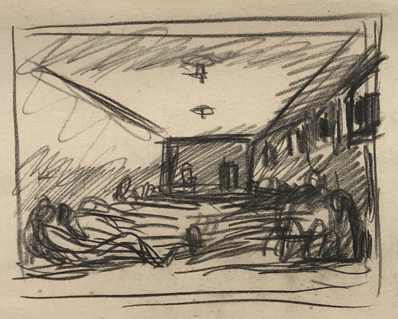 Rysunek ołówkiem. Przedstawia leżących więźniów wwieloosobowej celi więzienia wCharkowie. Adam Kossowski, praca stworzona wLondynie w1943 roku.