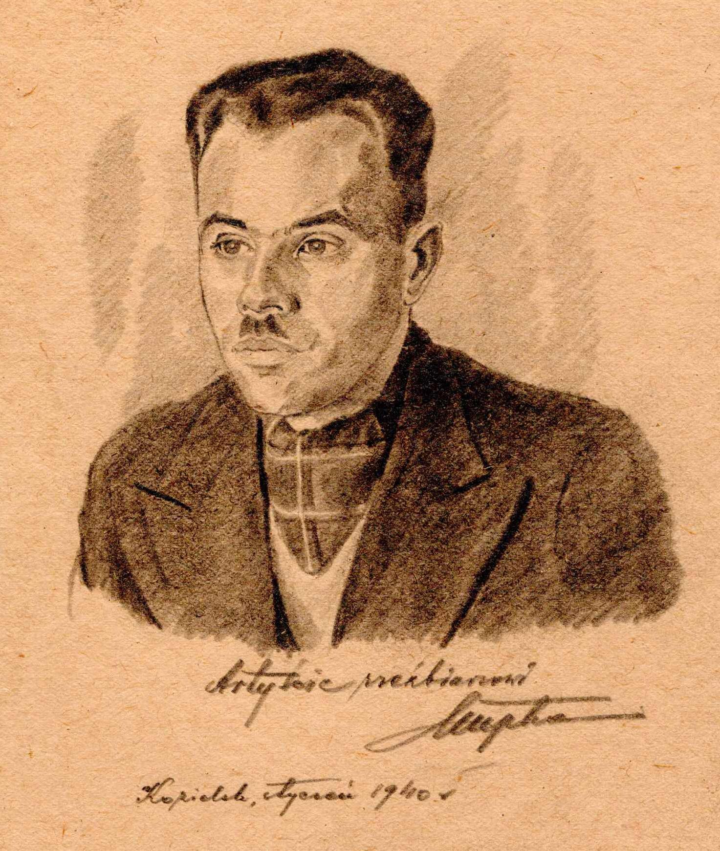 Portret nieznanego mężczyzny narysowany ołówkiem. Franciszek Kupka, obóz wKozielsku, styczeń 1940