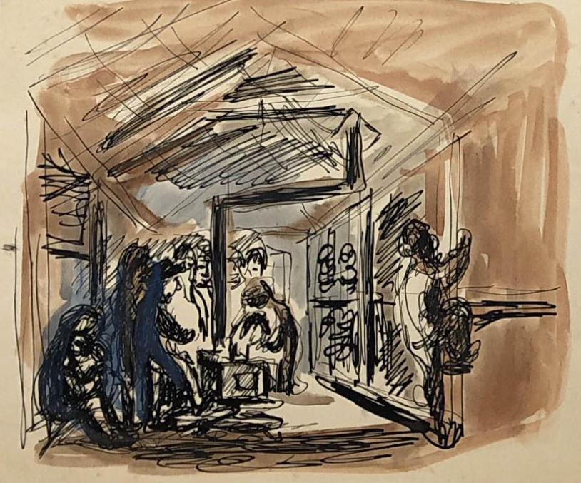 Akwarela przedstawiajaca więźniów wbaraku, którzygrzeją się przy piecu. Jeden zwięźniów wdrapuje się napryczę. Obóz wKożwie nadPeczorą, Adam Kossowski, praca stworzona wLondynie w1943 roku.