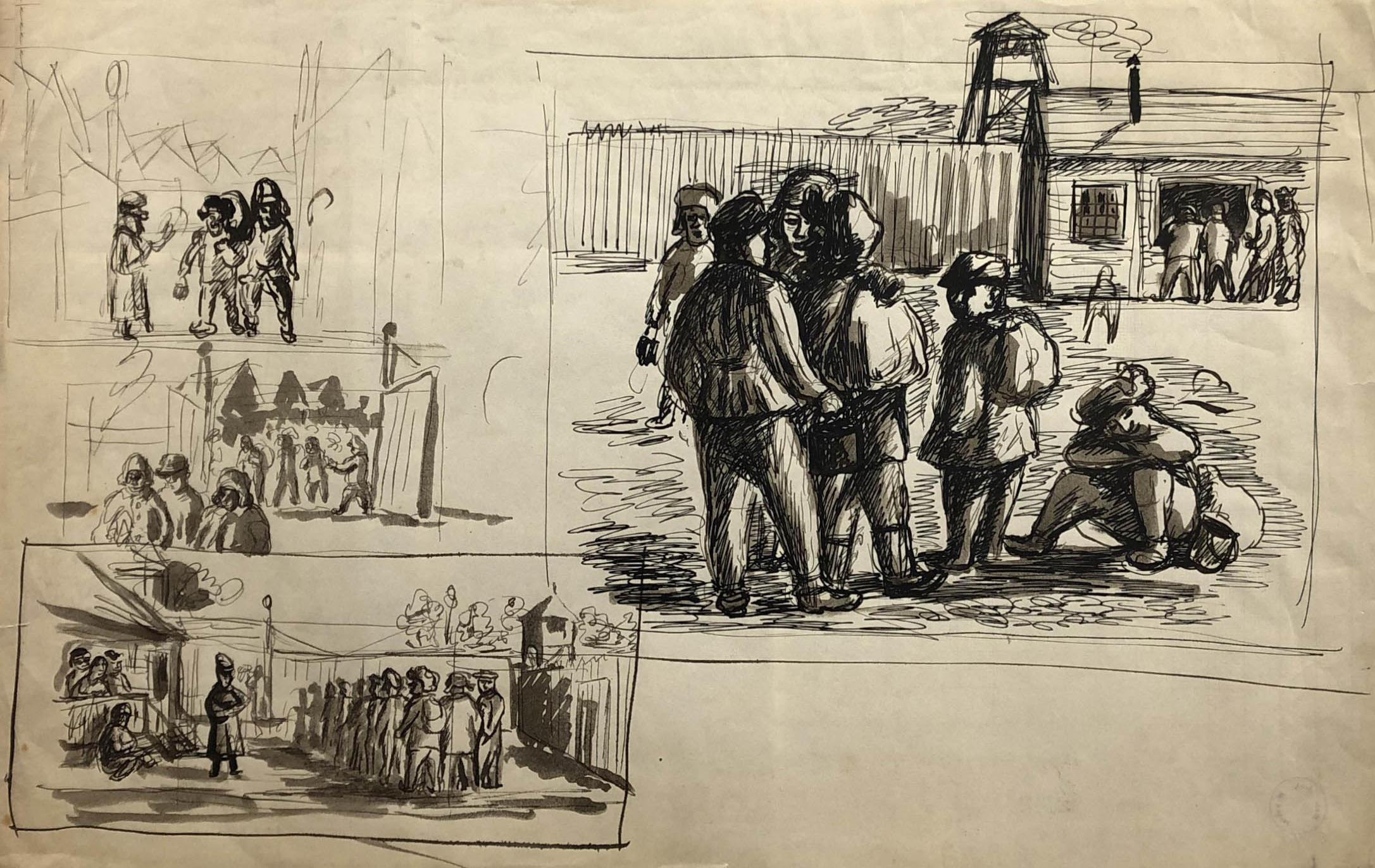 Rysunki przedstawiające codzienność włagrze. Adam Kossowski, rys. piórkiem, praca stworzona wLondynie w1943 roku.