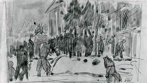 Obrazek przedstawiający ludzi czekających wkolejce powodę. Stanisław Westwalewicz, rys. ołówkiem, lawowany, obóz wKozielsku, 1940