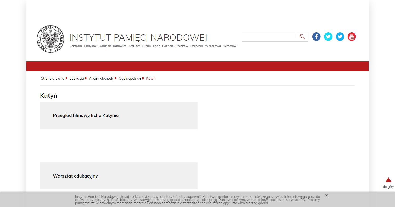 Zrzut ekranu - portal edukacyjny Instytutu Pamięci Narodowej; zawiera informacje dotyczące form działalności instytucji zajmującej się m.in.upowszechnianiem wiedzy oKatyniu.