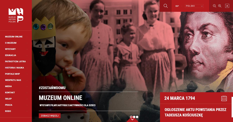 Zrzut ekranu - strona Muzeum Historii Polski. Wśród najważniejszych wątków polskiej historii nakartach portalu zamieszczono wiele cennych wiadomości dotyczących Katynia.