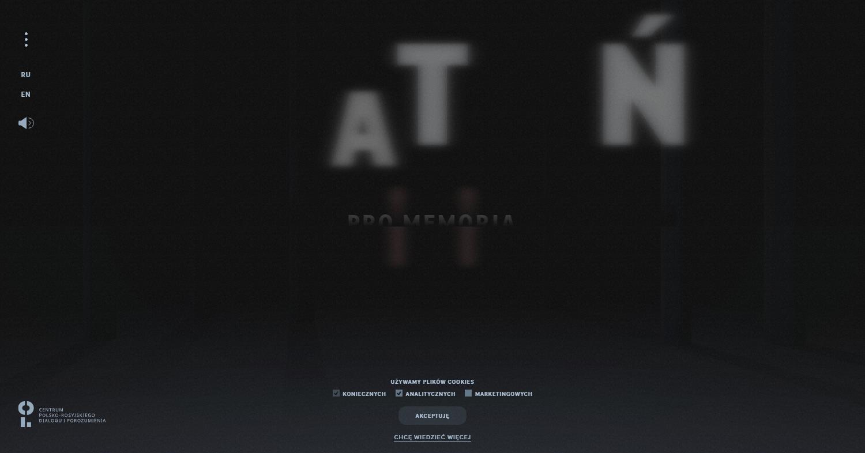 """Zrzut ekranu - portal internetowy Centrum Polsko-Rosyjskiego Dialogu iPorozumienia """"Katyń. Pro Memoria"""" umożliwiający wirtualny spacer poPolskim Cmentarzu Wojennym wKatyniu."""