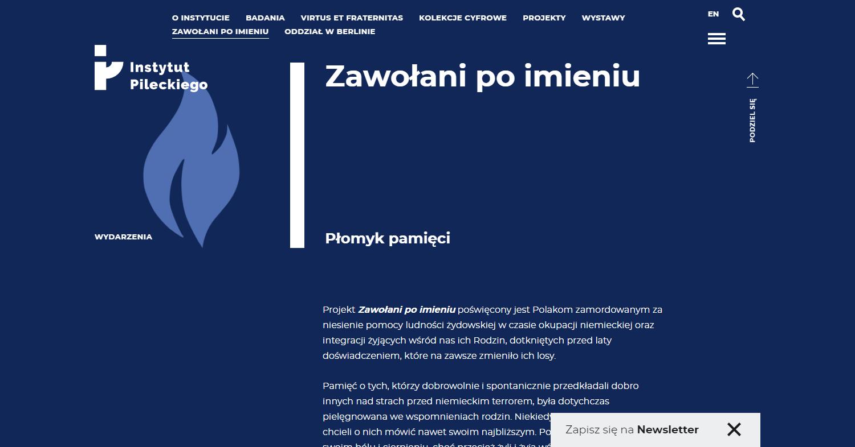 Zrzut ekranu - strona Instytutu Pileckiego, zajmującego się badaniami nadtotalitaryzmami komunistycznym iniemieckim.
