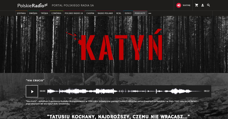 Zrzut ekranu - zakładka katyńska Polskiego Radia, naktórejzamieszczono przede wszystkim materiały fonograficzne, takie jak audycje radiowe, reportaże isłuchowiska poruszające tematykę Zbrodni Katyńskiej.