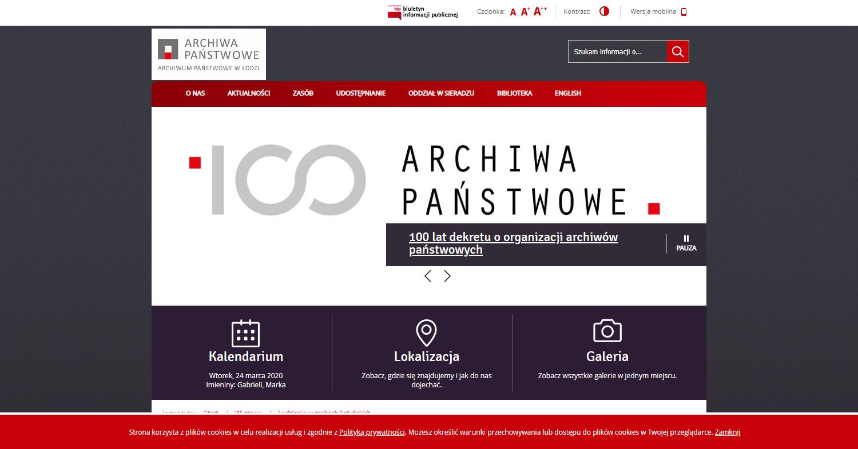 Zrzut ekranu - strona Archiwum Państwowego wŁodzi – zasób archiwaliów dotyczących mieszkańców ziemi łódzkiej, ofiar Zbrodni Katyńskiej.