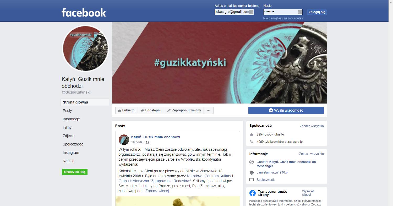 Zrzut ekranu - profil kampanii społecznej Narodowego Centrum Kultury naFacebooku; jego założeniem jest pielęgnowanie pamięci opolskich oficerach zamordowanych przezsowietów.