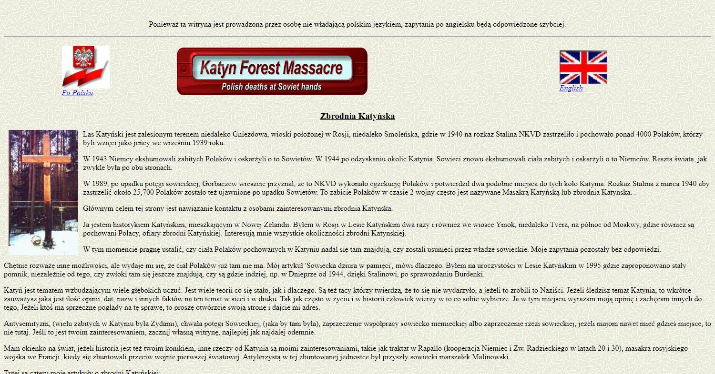 Zrzut ekranu - strona australijska wwersji angielskiej ipolskiej, zawierająca odnośniki dostron, publikacji idokumentów dotyczących Zbrodni katyńskiej poangielsku iwinnych językach.