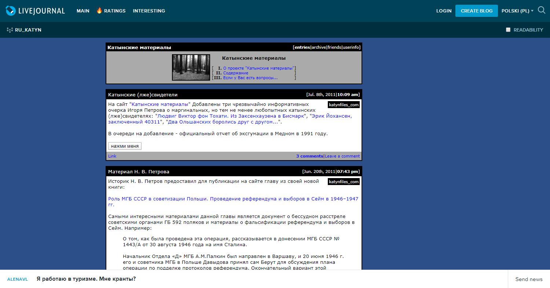 Zrzut ekranu pokazujący archiwalną stronę rosyjskojęzyczną monitorującą wiadomości oKatyniu wRosji.