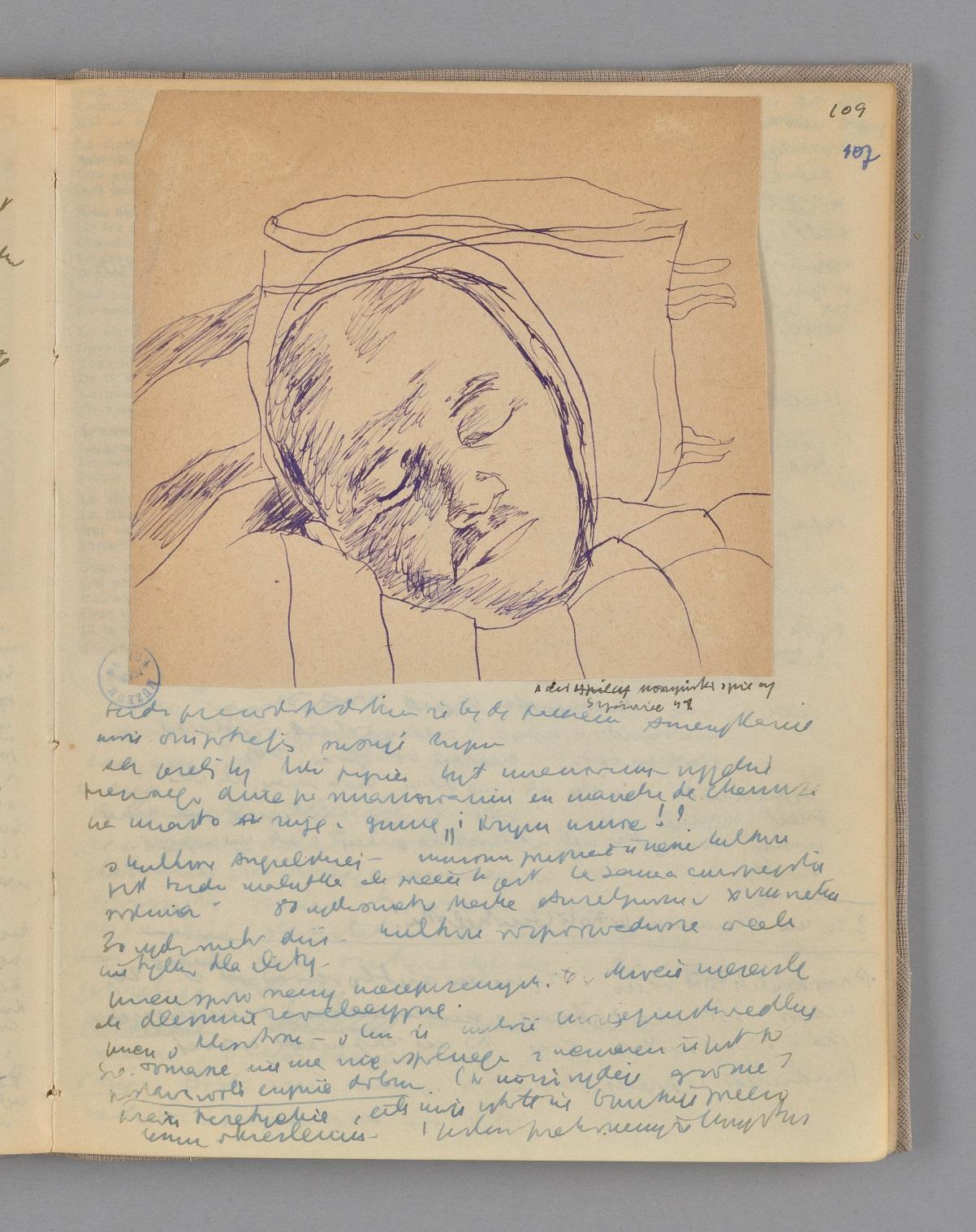 Zdjęcie strony dziennika Józefa Czapskiego - rysunek ołówkiem przedstawiający twarz śpiącego mężczyzny.