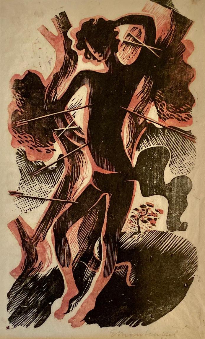 Drzeworyt przedstawiający męczeństwo św.Sebastiana. Mężczyzna przywiązany jest dodrzewa. Zjego ciała wystają wbite strzały. Edward Manteuffel, 1933
