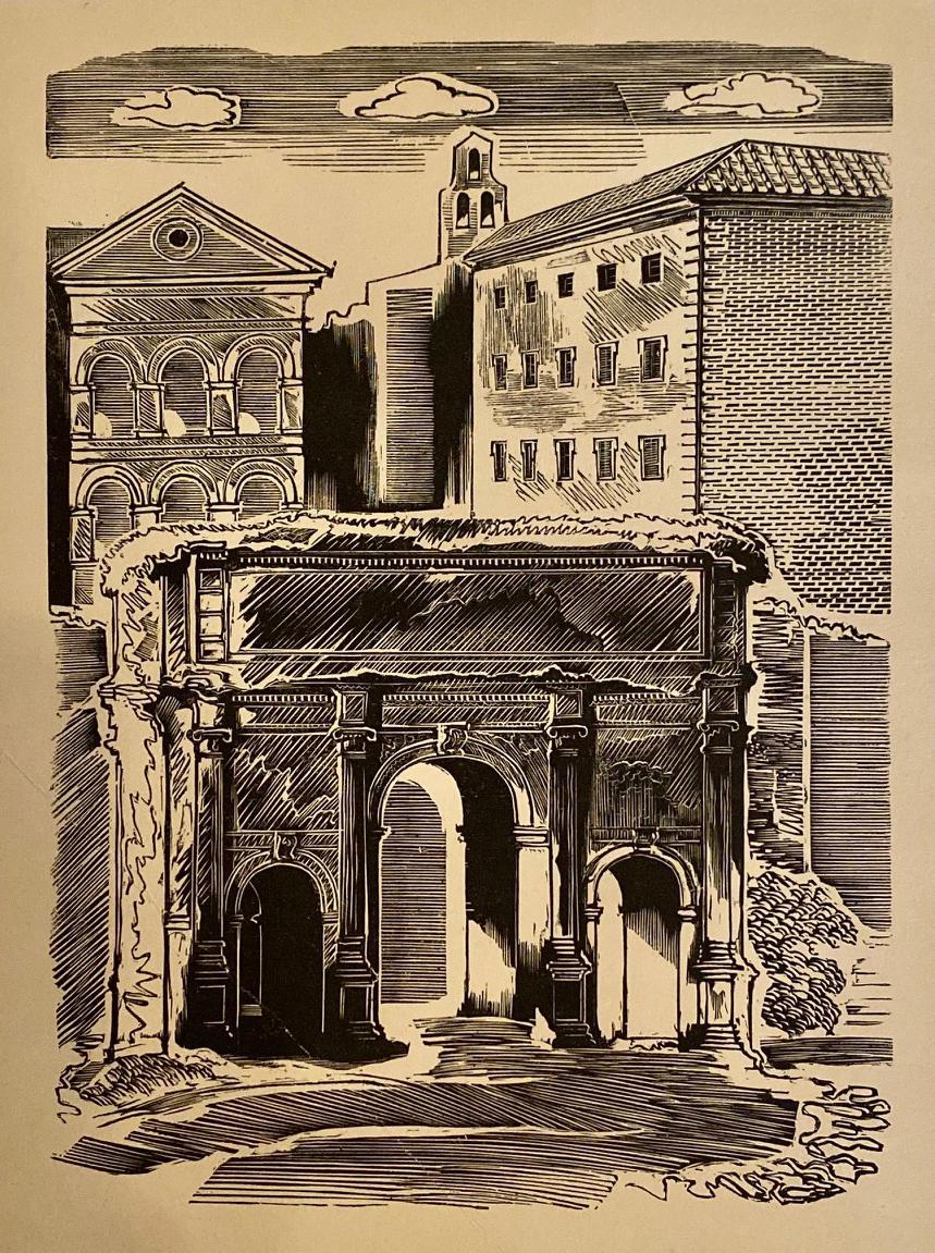 Drzeworyt przedstawiający Forum Romanum wRzymie. Edward Manteuffel,1936