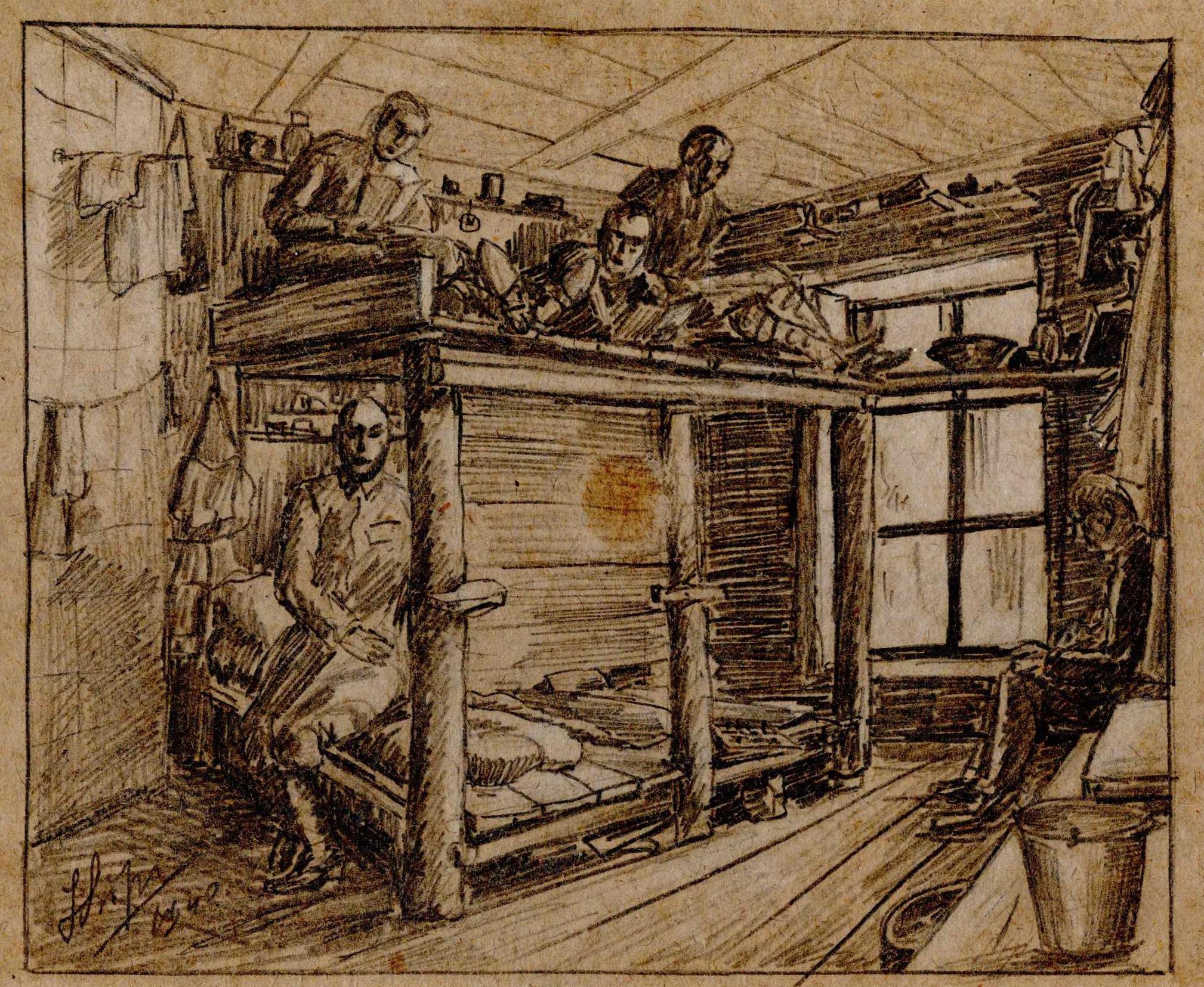 Rysunek przedstawiający wnętrze baraku. Widać pryczę piętrową orazleżących naniej więźniów. Józef Lipiński, 1940,