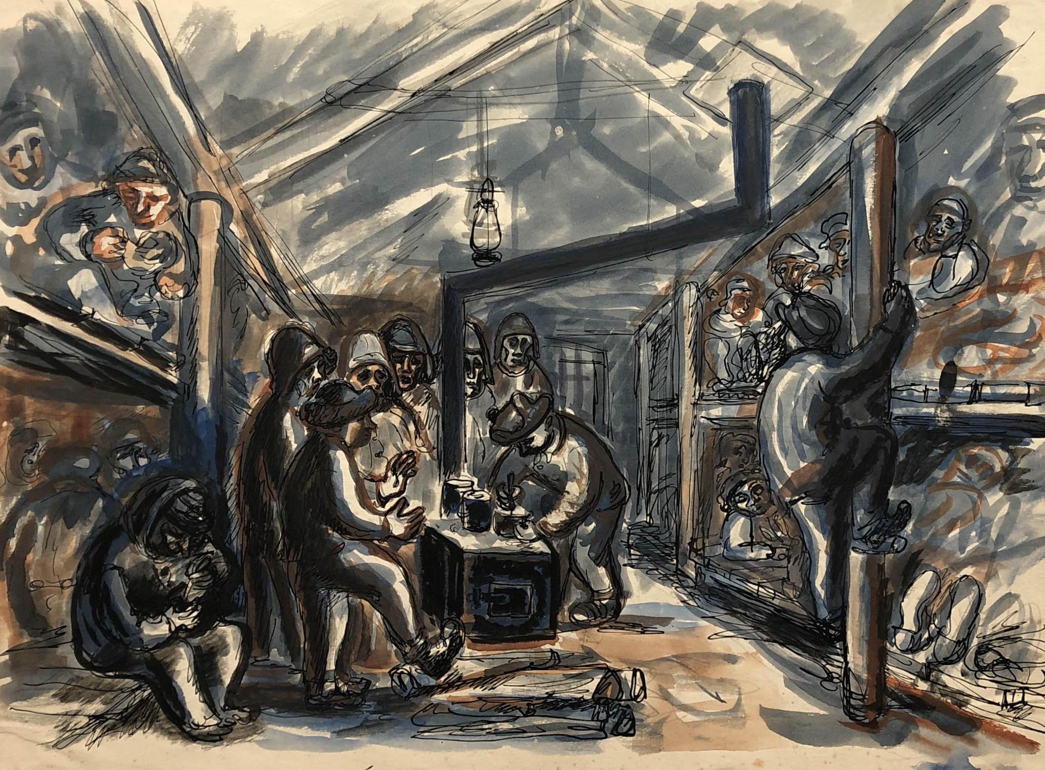 Praca przedstawiająca więźniów wbaraku włagrze wKożwie. Więźniowie leżą napryczach orazogrzewają się przy piecu. Adam Kossowski, rys. piórkiem, akwarela, praca stworzona wLondynie w1943 roku.
