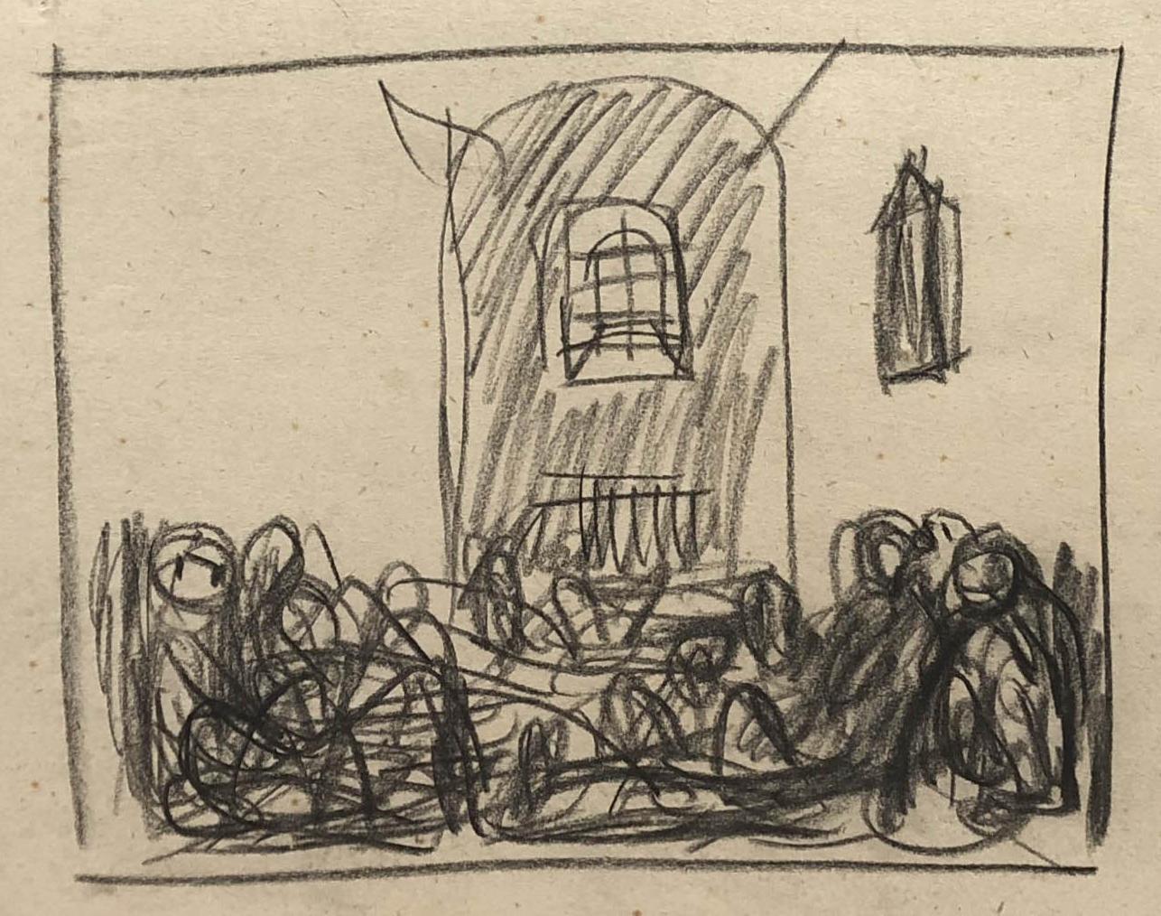 Rysunek przedstawiający więźniów wceli