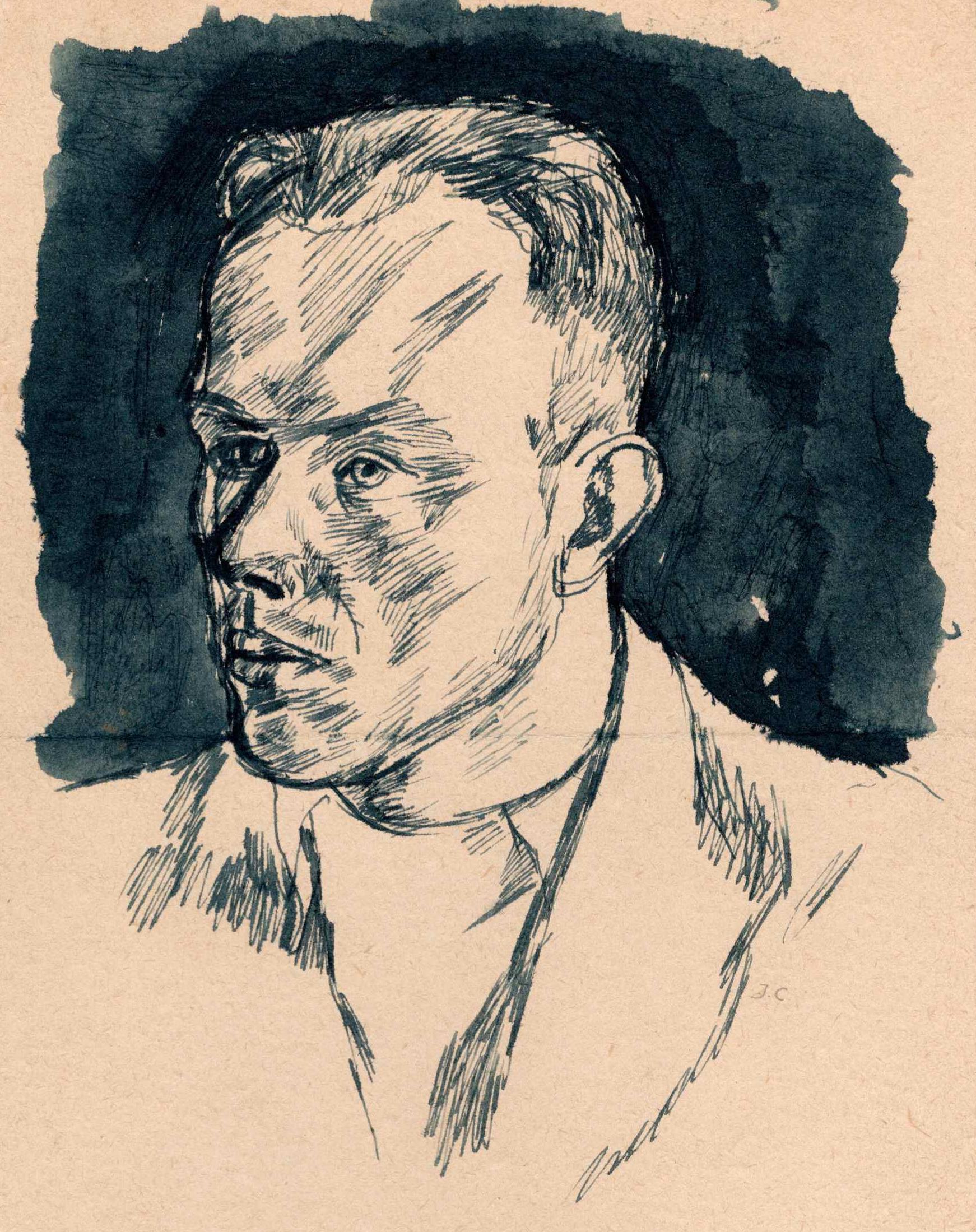 Portret przedstawiający Aleksandra Witliba podpiany jako portret nieudany. Józef Czapski, obóz wGriazowcu, 1941
