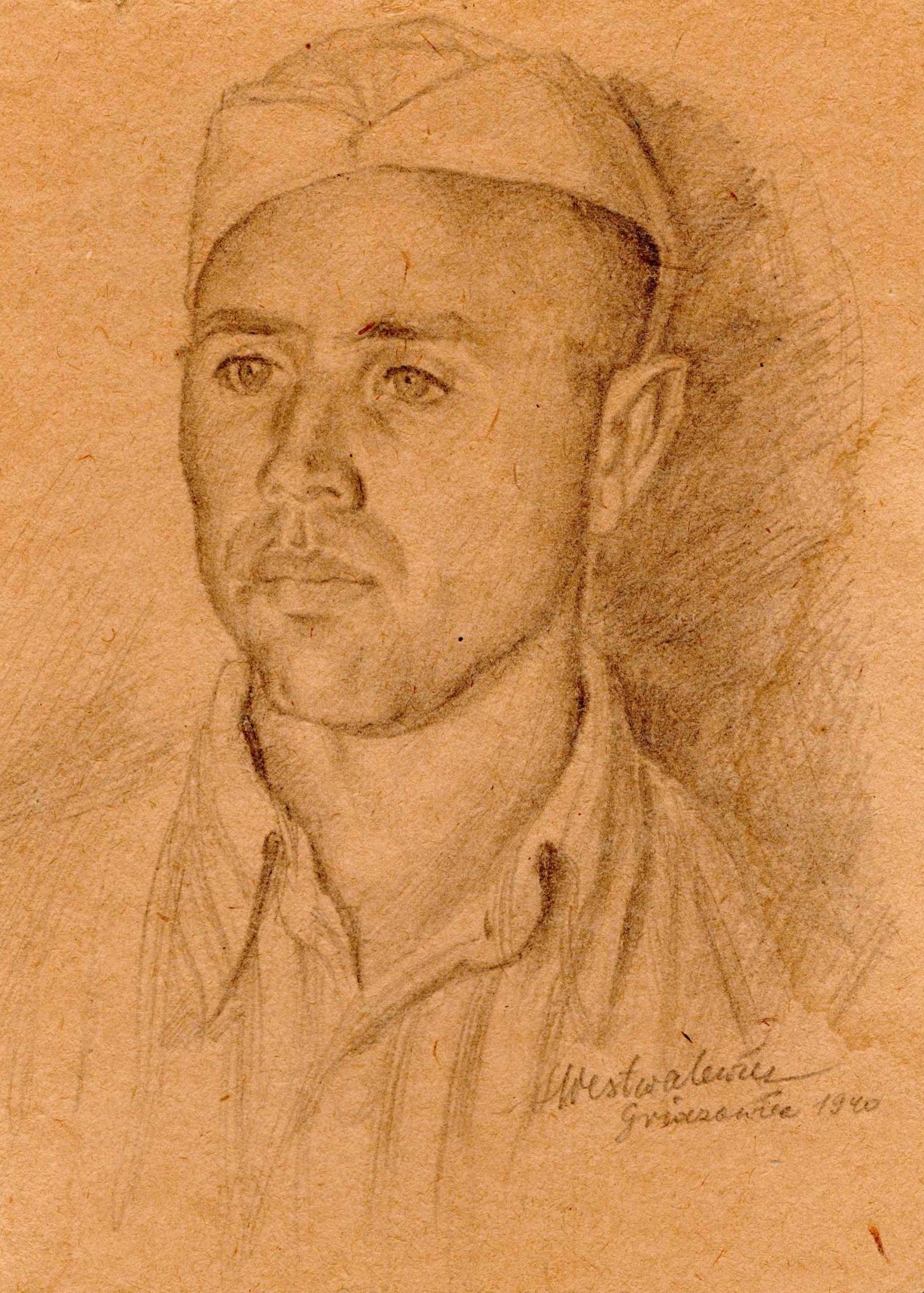 Rysunek ołówkiem przedstawiający podporucznika Aleksandra Witliba wstroju więziennym. Stanisław Westwalewicz, obóz wGriazowcu 1940