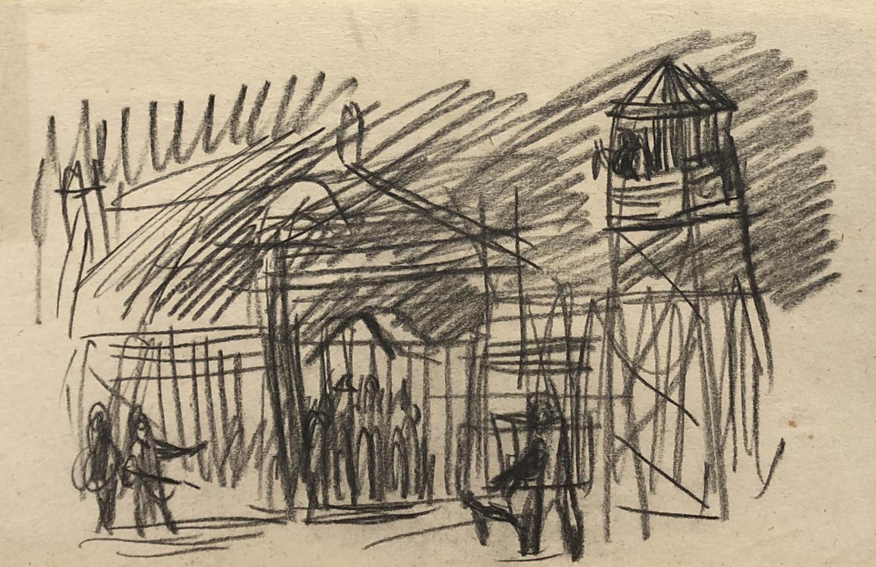 Rysunek przedstawiający bramę dołagru, orazwieżyczkę strażniczą. Adam Kossowski, rys. ołówkiem, praca stworzona wLondynie w1943 roku.