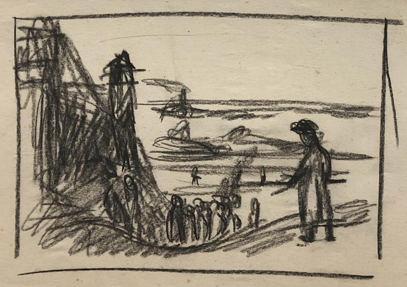Rysunek przedstawiający więźniów idących doobozu nadPeczorą Woddali widać rzekę ibarki. Obóz wKożwie nadPeczorą, rysunek ołówkiem, Adam Kossowski, praca stworzona wLondynie w1943 roku. .