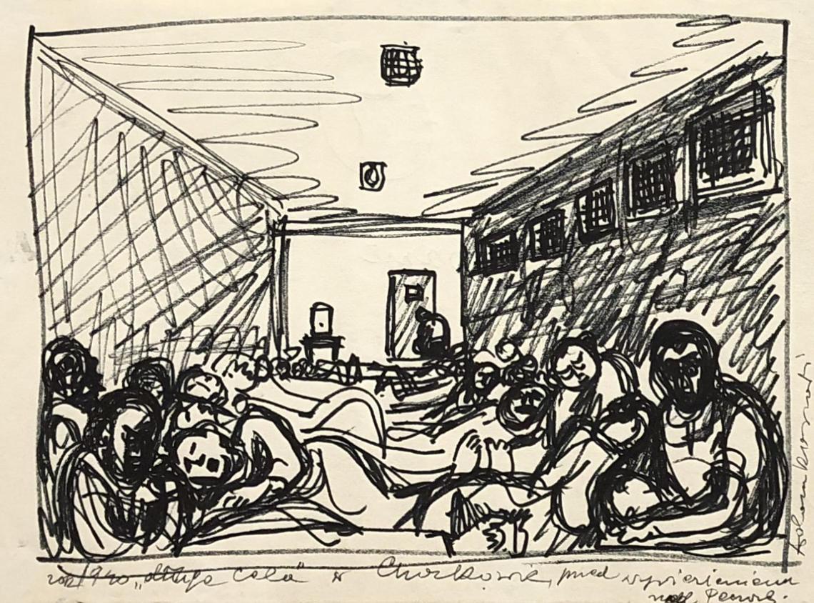 """Rysunek przedstawiający więźniów leżących wwieloosobowej, takzwanej """"długiej celi"""" wwięzieniu wCharkowie. Adam Kossowski, praca stworzona wLondynie w1943 roku."""
