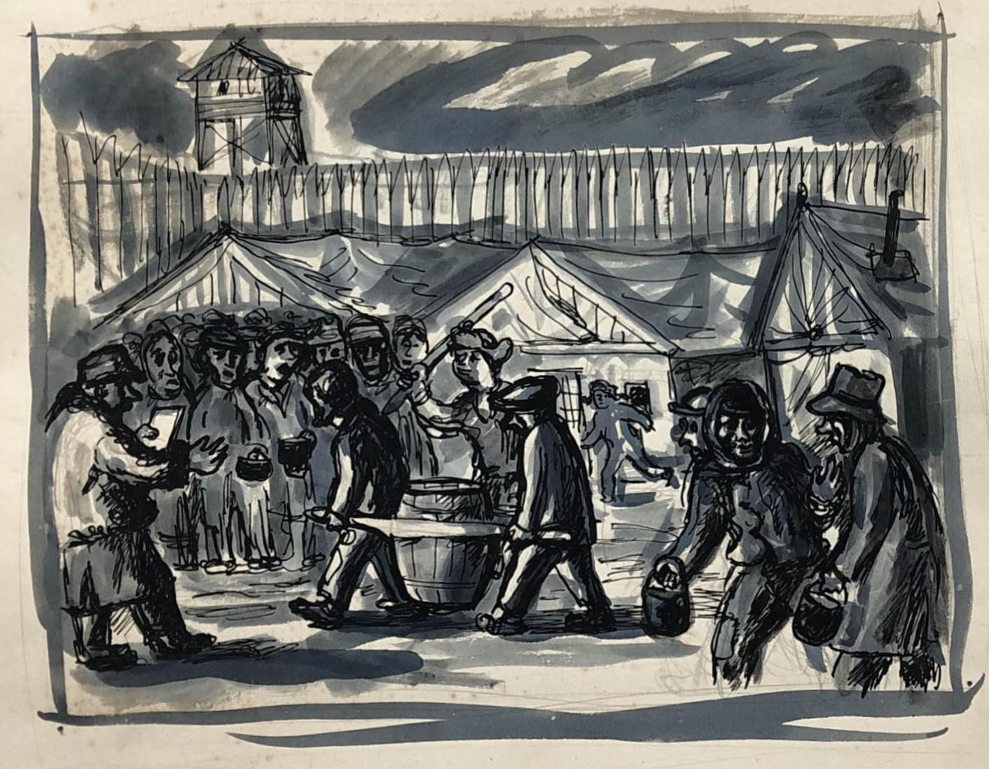 Praca przedstawiająca więźniów oczekujących naposiłek. Obóz wKożwie nadPeczorą, gwasz napapierze, Adam Kossowski, praca stworzona wLondynie w1943 roku.