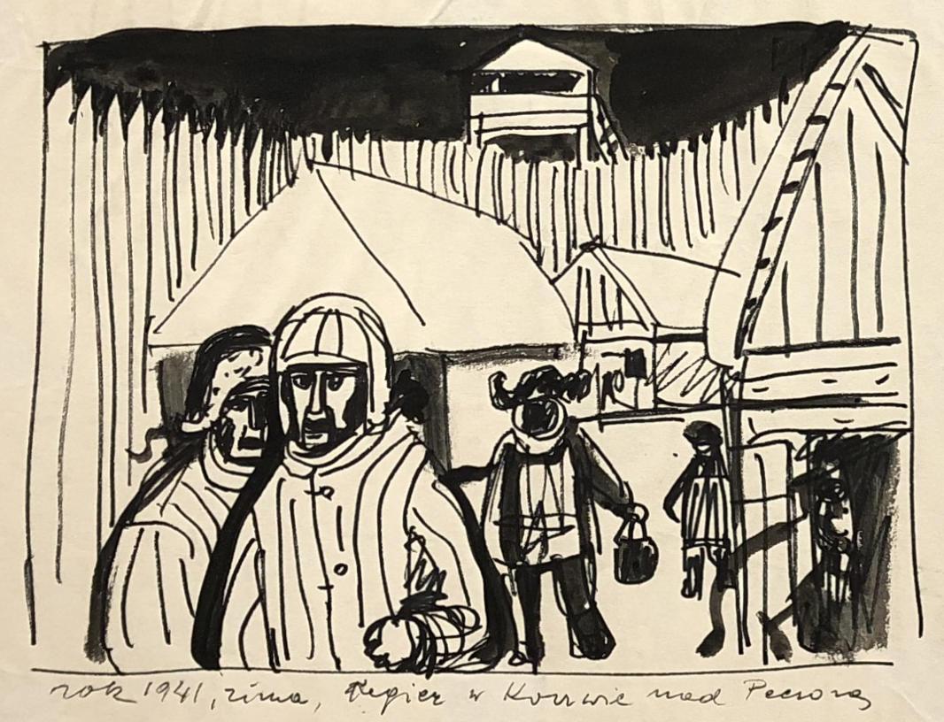 Rysunek tuszem przedstawiąjacy łagier wKożwie. Napierwszym planie widać więźniów. Woddali widać baraki, ogrodzenie iwieżyczkę strażniczą. Adam Kossowski, praca stworzona wLondynie w1943 roku.