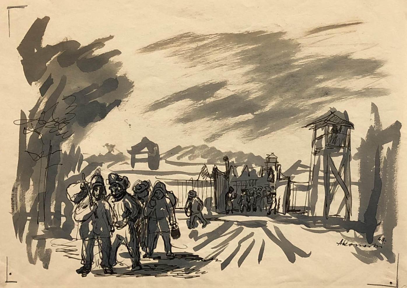 Praca przedstawiająca łagier, zktóregowychodzą więźniowie.. Niektórzy niosą jakieś przedmioty, tobołki. Być może moment opuszczenia obozu poogłoszeniu amnestii. Obóz wKożwie nadPeczorą, Adam Kossowski, praca stworzona wLondynie w1943 roku.