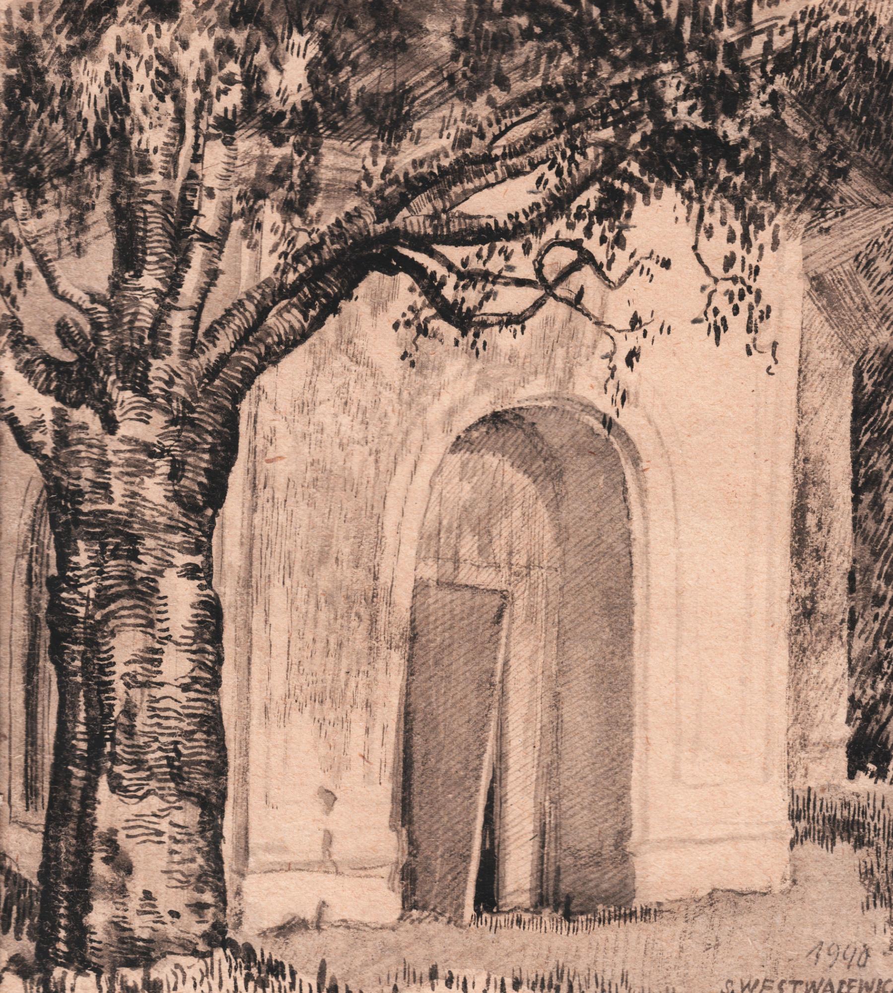 Rysunek przedstawiający zdewastowaną kaplicę przycerkiewną naterenie obozu. tanisław Westwalewicz, rys. ołówkiem ipiórkiem, obóz wKozielsku 1940