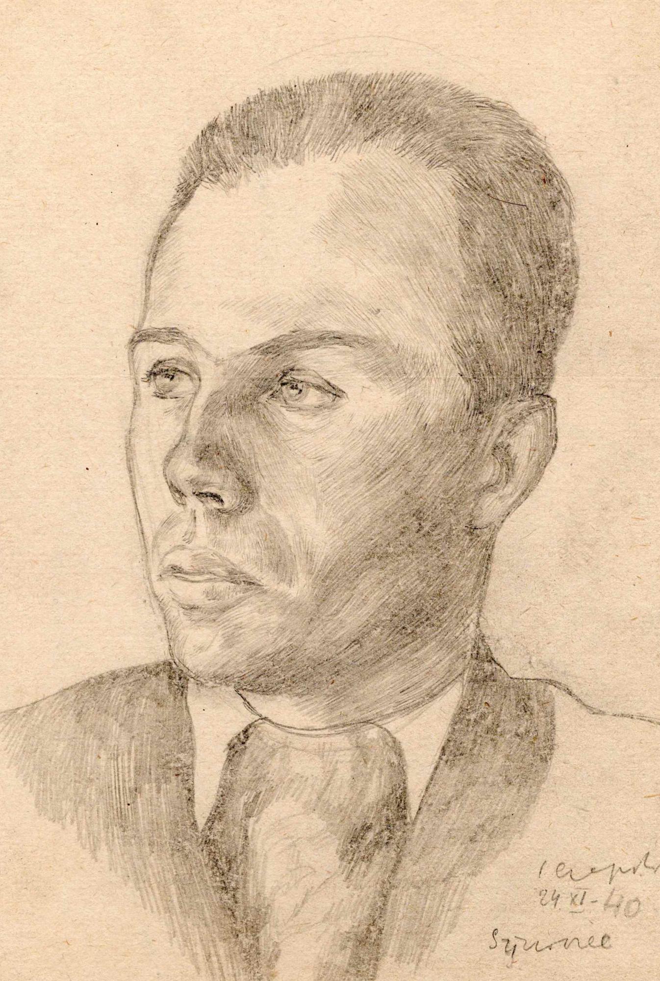Portret przedstawiający Aleksandra Witliba wykonany przezJózefa Czapskiego wobozie wGriazowcu. Ołówek napapierze, 24 listopada 1940